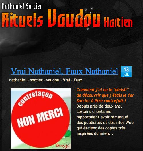Vrai Nathaniel Sorcier Vaudou Faux Nathaniel Sorcier Vaudou